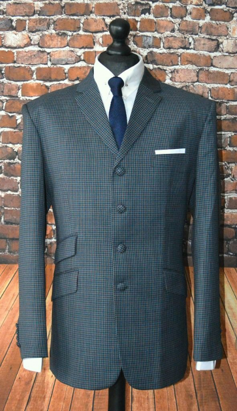 """Kingston"" Grey & Dark Rust Puppy Tooth Checked 4 Button Suit"